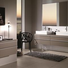 セラトレーディング/モダン/住まい/インテリア/注文住宅 直線的なデザインの洗面ボウルは生活空間に…
