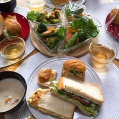 おうちカフェ/お弁当/はじめてフォト投稿 お友達とランチタイム🥪