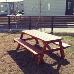 遊び/BBQ/ガーデンテーブル/DIY/ハンドメイド/住まい/... 暖かくなってきたので庭に ガーデンテーブ…