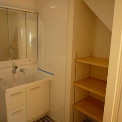 タオル棚/収納スペース/収納棚/洗面所 タオル棚のある洗面所