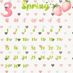 ひな祭り/カレンダー 3月のカレンダーとお雛様ですご自由に待ち…