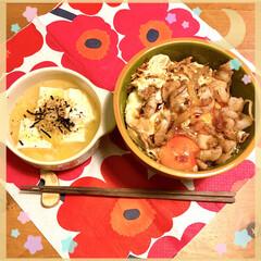 今夜は丼丼/長ネギ+豆腐+胡麻+海苔/卵+豚肉+玉ねぎ+キャベツ+ご飯/TVは/何やってるのかな? JKの部活が早終わりなので今夜はガツンと…