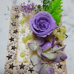 お休みなさい/今日もお疲れ様でした/アロマワックスフォトサシェ/プルメリアの香り/ソイワックス/蜜蝋 パープル💜の薔薇プリザーブドフラワー💕ア…