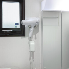 洗面所インテリア/ストライプの壁/モノトーンインテリア/ドライヤーホルダー/ドライヤー収納/DIY/... お気に入りの洗面所兼脱衣所。 モノトーン…(3枚目)