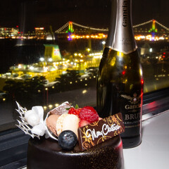 クリスマス/クリスマスケーキ/スパークリングワイン/レインボーブリッジ/港/クリスマス2019 贅沢なクリスマス