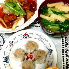 シュウマイ/酢豚/おうちごはん 休みの日の晩ご飯🎵  ・酢豚   ピーマ…