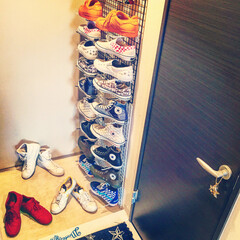 靴収納/スニーカー/ムサシ/DIY/雑貨/インテリア/... ホームセンター ムサシで揃えた物で作った…