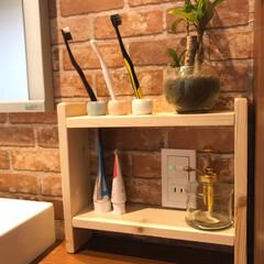簡単DIY/DIY/水性ウレタンニス/洗面所収納/洗面所DIY/収納/... 水回りに強い簡単な棚をDIYしました 作…