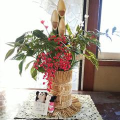 門松  ミッキー  ミニー/お正月2020 手作りの門松と、小学3年生の娘が添えたミ…