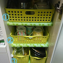 100均/収納/レンジ台/カップボード収納/お皿収納 食器棚は別にあるのでレンジ台に使用頻度の…
