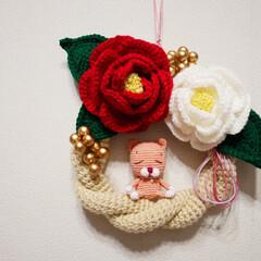 お正月2020 お正月のしめ縄飾りを編み物で作ってみまし…