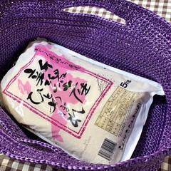 手編み/かぎ編み/お買い物バッグ こちらが編みあがったお買い物バッグ。お米…