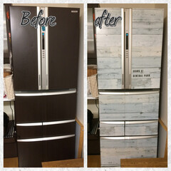 冷蔵庫/セリア/リメイクシート 冷蔵庫にリメイクシートを貼ってみました☆