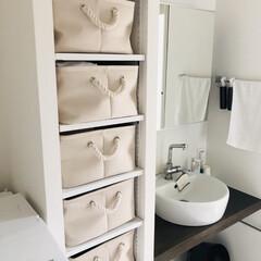 収納/洗濯/掃除/脱衣所収納/脱衣所収納問題/脱衣所収納の見直し/... 洗面所の棚の引き出しは、カゴやボックスな…