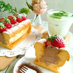 小手毬/ハンドメンド/手作りお菓子/手作りケーキ/おうちカフェ/生シフォン/... 🔸チョコ生シフォン🔸   生シフォンと抹…