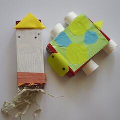 子ども/夏休み/工作/お菓子の箱/DIY/手作り 子どもと一緒に海の生き物を作りました。余…