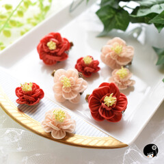 入学式コーデ/卒業式コーデ/あぼかぼ/つまみ細工 かわいい椿の花が出来ました✨ 髪飾りと耳…