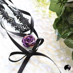 チョーカーネックレス/あぼかぼ/つまみ細工 オーダー品 紫の薔薇チョーカー✨ レース…