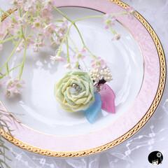 あぼかぼつまみ細工 優しい黄緑色の薔薇が咲きました💕 ピンク…
