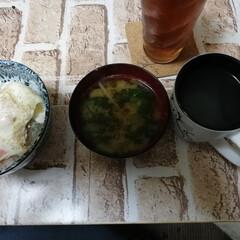 朝御飯/おうちごはん 今日の朝御飯。  ハムエッグ丼と味噌汁の…