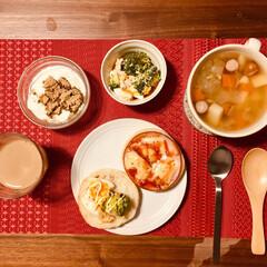 朝食/朝ごはん/朝ご飯/野菜スープ/食べる野菜スープ/時短でできる栄養たっぷり朝ご飯/... 朝食(1枚目)