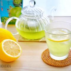 夏/緑茶/お茶/ティータイム/レモン/ガラス/... 暑い夏の昼下がりに緑茶で一休み♩ レモン…