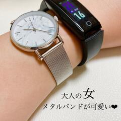 高見え/大理石風/大理石調/腕時計好き/腕時計/小物使い/... 私のお仕事用腕時計♥ ダイソーのメタルバ…