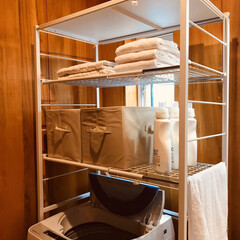 パイプ棚収納/楽天room/楽天市場/洗濯機まわり/収納アイデア/パイプ棚/... パイプ棚を使ってスッキリ収納☝︎ こんな…