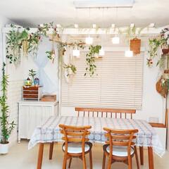 簡単DIY/建売住宅/ダイニング/マグネット/100均/布/... ダイニングの壁の一部を 簡単に模様替え出…