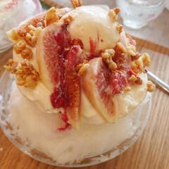 スイーツ/ケーキ屋/かき氷/イチジクのかき氷/イチジク/ファッション/... 今日食べに行ってきたケーキ屋さんのかき氷…