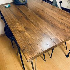 ダイニングテーブルDIY/ダイニングテーブル/DIY 杉板でダイニングテーブルつくりました! …
