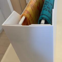 突っ張り棒/最近買った100均グッズ/つっぱり棒壁面ガード/ゴミ袋収納/ゴミ袋 ファイルボックス(ニトリか無印良品〕にダ…
