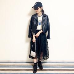 ファッション/おすすめアイテム/レフア/レフアクローゼット/ライダース/オニツカタイガー/... 🧸ライダースコーデ🧸 レフアのスカートを…