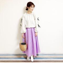 ファッション/おすすめアイテム/レフア/レフアクローゼット/カゴバッグ/しまむら/... 🧸春カラー🧸 レフアのスカート新調したよ…(2枚目)