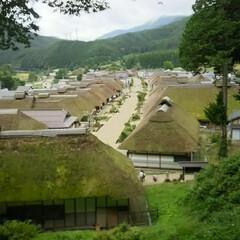 福島県/大内宿見晴台/大内宿/おでかけ 福島県の大内宿。 少し高台から大内宿を一…