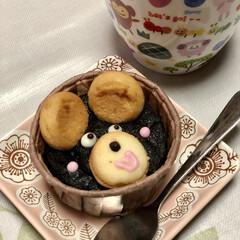 スイーツ/手作り/くまちゃん/カップケーキ/ありがとう 可愛いでしょ〜😍 これね、職場の社員くん…(1枚目)