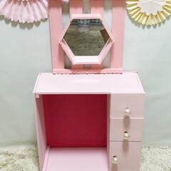 パリ風インテリア/ペイント/ドレッサー/子供部屋 娘のために作ったドレッサーです。パリ風イ…