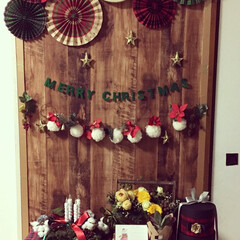 クリスマスデコレーション/ポンポンガーランド/ガーランド/アドベントクランツ/スターオブジェ/ペーパーファン 今年はクリスマスツリーを飾らず、壁面デコ…