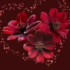 バレンタイン/チョコレートコスモス/花言葉/移り変わらぬ想い/お絵描き/バレンタイン2020 チョコレートコスモス( ˙꒳˙ ) 頑張…