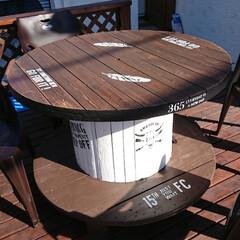 ケーブルドラム/電線ドラム/DIY ケーブルドラムテーブルをDIY‼️  余…(1枚目)