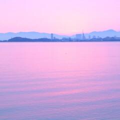 ピンク ピンクに染まった海