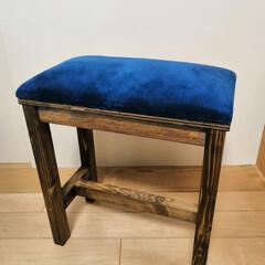 スツール/minneにて販売中/DIY/ハンドメイド ミンネでお客様の要望で作った青のコーデュ…