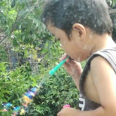 息子/子供/シャボン玉 昨日は下の息子の幼稚園の運動会でした。 …(1枚目)