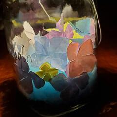紫陽花/セリア/折り紙/ソネングラス/ソーラーライト 💡ソーラーライトにあじさい💠 (セリアの…