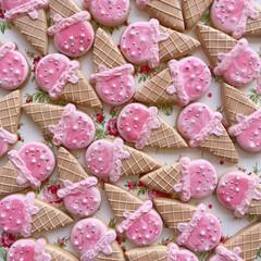 お菓子/プチギフト/お菓子作り/アイシングクッキー アイスクリームのアイシングクッキー♪