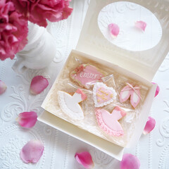 ギフトボックス/ギフト/お菓子作り/アイシングクッキー/お菓子 バレエをテーマにしたクッキーです♪