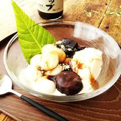 黒糖/コーヒーゼリー/きなこ/バニラアイス/白玉団子 1つ前に載せたコーヒーゼリーのバニラアイ…
