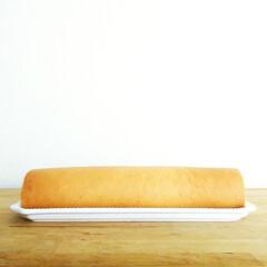 オーブン/ロールケーキ/おやつ/お菓子/シフォン生地 長い長いロールケーキ。 オーブン付属の天…