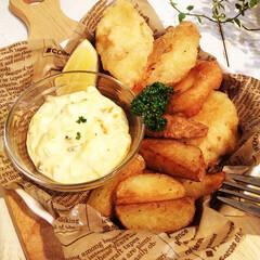 クリスマス/魚/フィッシュ&チップス イギリスの伝統料理で代表的なファストフー…