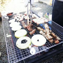バーベキュー/正月/肉 初めてお正月に庭でバーベキューをしました…